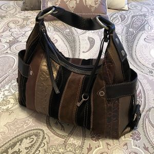 Beautiful Fossil Leather/Suede Patchwork Hobo Bag!
